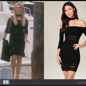 Bebe Off Shoulder 👀 Mesh Inset Choker Dress Size